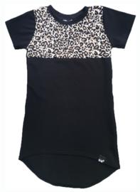 Zwart met panter bruin stuk mini maxi jurk