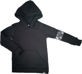 Zwart hoodie brush zwart streep mouw