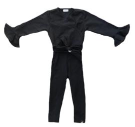 Zwart met roes mouw jumpsuit