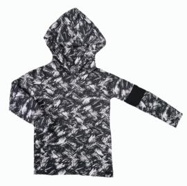Brush zwart hoodie met zwart streep mouw