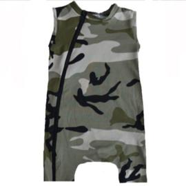 Camo green sleevess/ short onesie