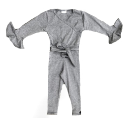 Donker grijs roes mouw jumpsuit