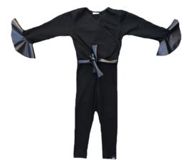 Zwart met leer mouw jumpsuit