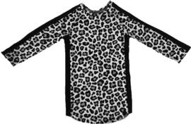 Panter grijs met zwart streep jurkje + haarbandje