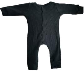 Baby knit zwart onesie (drukkers)