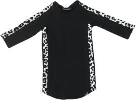 Zwart met panter grijs streep jurkje + haarbandje