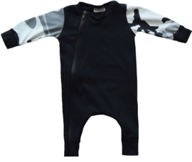 Black with camo grey onesie