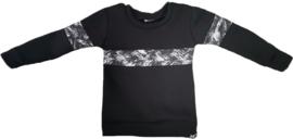 Zwart met brush zwart horizontaal streep sweater