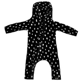 Zwart dots roes onesie