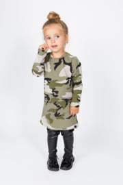 Green camo aline with leather legging