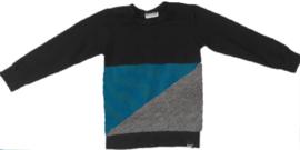 Petrol/grijs/zwart sweatshirt