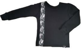 Zwart met brush zwart verticaal streep sweater