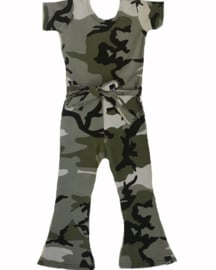 Camo green flared jumpsuit