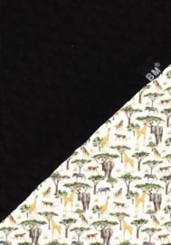 Boxkleed zwart wafel /olifant-giraf