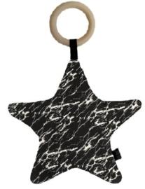 Bijtring/kussen ster marble zwart