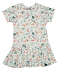 Roes jurk flamingo korte mouw