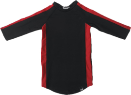 Zwart met rood streep jurkje + haarbandje