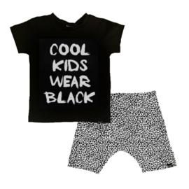 Cool kids wear black/ wit panter korte baggy broek