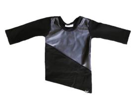 Leer/zwart lang shirt