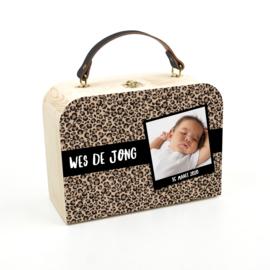 Houten koffertje panter bruin foto