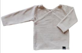 Beige rib velours overslag shirt