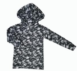Zwart brush long hoodie