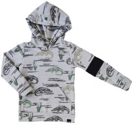 Kroko hoodie met zwart stuk mouw