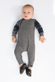 Grey with camo blue onesie