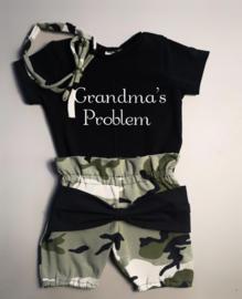 Grandma's problem/ camo groen strik bloomer