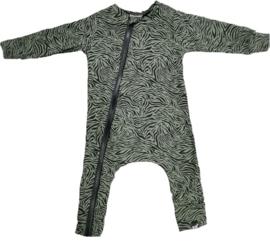 Tijger groen onesie (zonder capuchon)