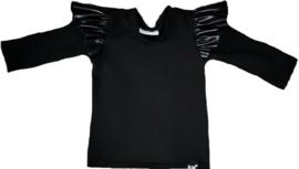 Zwart met leer roes mouwtje shirt