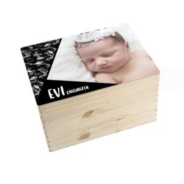 Geboorte/herinnerings kist brush-zwart