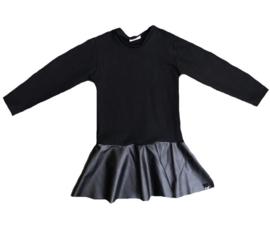 Black leather ruffle dress