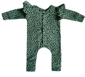 Dot khaki velours vleugel onesie (drukkers)