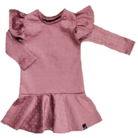 Roze suede roes vleugel jurk