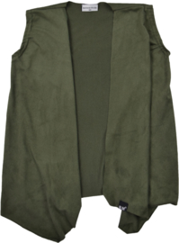 Suede green sleeveless cardigan