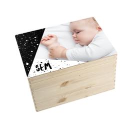 Geboorte/herinnerings kist verf wit/zwart
