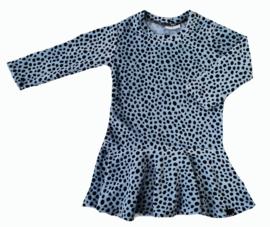 Dot blauw velours roes jurk