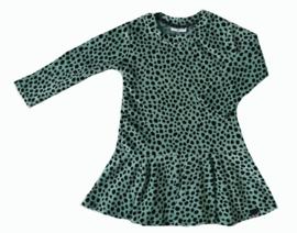 Dot dusty groen velours roes jurk