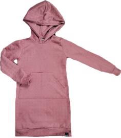 Roze suede hoodie jurk