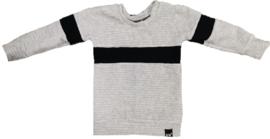 Grijs rib met zwart streep horizontaal sweater