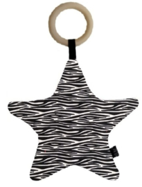 Bijtring/kussen ster zebra
