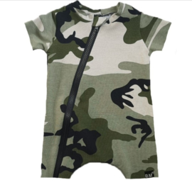 Camo green t-shirt/ short onesie