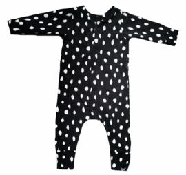 Zwart dot onesie (drukkers)