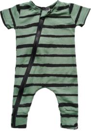 Groen streep onesie korte mouw
