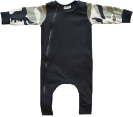 Black with camo green onesie