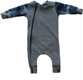 Grey with camo blue onesie