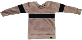 Rib taupe met zwart streep horizontaal sweater