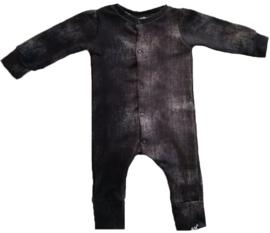 Zwart denim look onesie (drukkers)