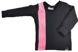 Zwart met roze rib verticaal streep sweater